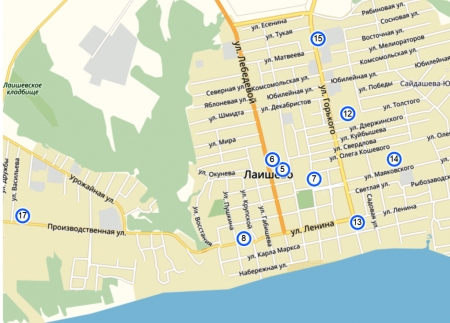 Полезная информация. Избирательные комиссии и участки в Лаишево (карта)