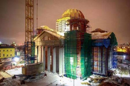Завершено бетонирование центрального купола собора Казанской иконы Богоматери