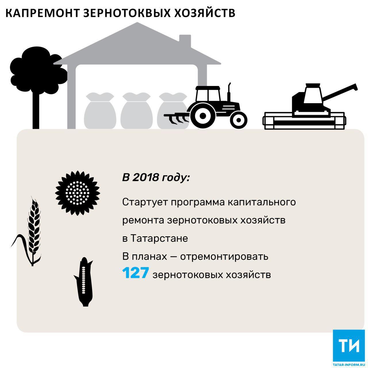 С 2018 года Татарстан начнет программу капитального ремонта зернотоковых хозяйств