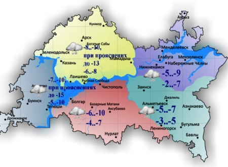В ближайшую декаду в Лаишеве снегопады отменяются
