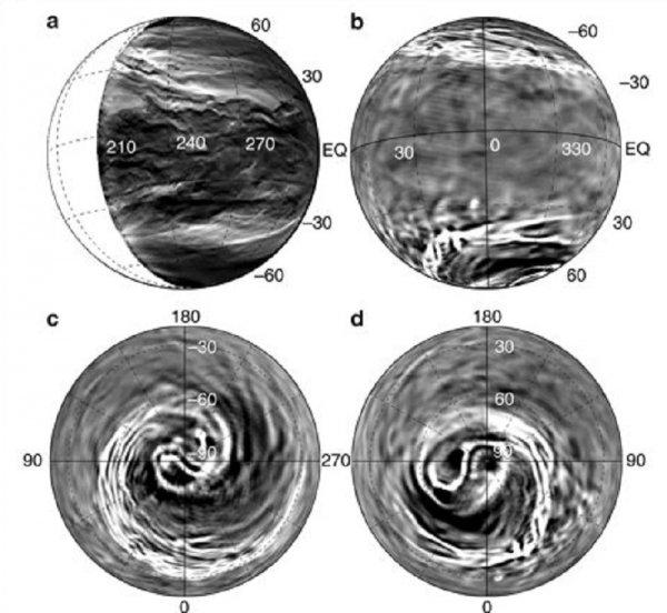 Ученые обнаружили в атмосфере Венеры загадочные спирали