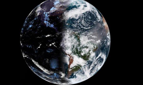 Как Инь и Янь: Спутник сделал впечатляющий снимок Земли в день весеннего равноденствия